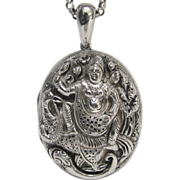 Rare English Sterling Silver Locket with Image of Hindu Diety