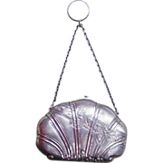 French Sterling Silver Shell Shape Purse with Finger Ring