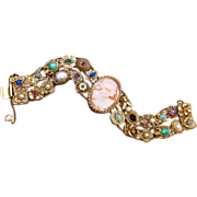 Vintage Goldette Victorian Revival Slide Bracelet With Cameo