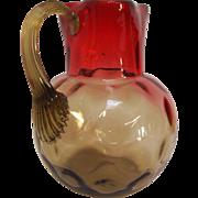 Antique Amberina Creamer Jug in Thumbprint Pattern