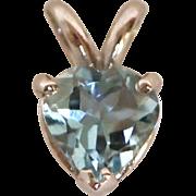 14K Gold Aquamarine Heart Shaped Pendant