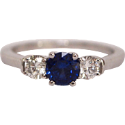 18K Gold Ring with 2 Diamonds and Blue Sapphire