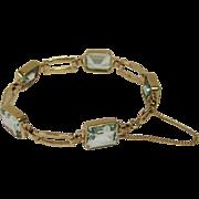 Emerald Cut Aquamarine Bracelet in 14k Yellow Gold