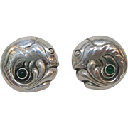 Georg Jensen Sterling Silver Fish Earrings with Chrysoprase Cabochon