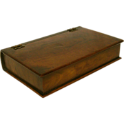 19th Century Handmade Hard Wood Book Shaped Box