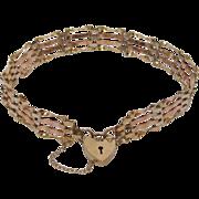 Vintage 9 K Tricolor Gold Gate Bracelet with Padlock Heart Clasp