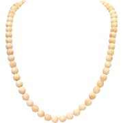 Vintage Natural Angel Skin Coral Necklace with 14 K Gold Clasp