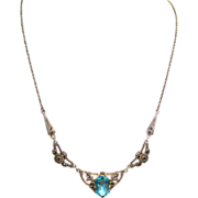 SALE PENDING Art Deco Sterling Silver, Paste, and Marcasite Necklace, circa 1920