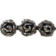 Mexican Sterling Silver Three Rose Brooch, circa 1970