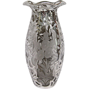SALE PENDING Alvin Cut Glass Vase with Sterling Silver Overlay and Ruffled Rim