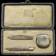 Silver (800) Match Safe, Pocket Knife, and Toothpick Holder Matched Set in Original Case, circ