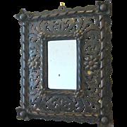 Italian Hand Wrought Iron Rustic Flower Mirror