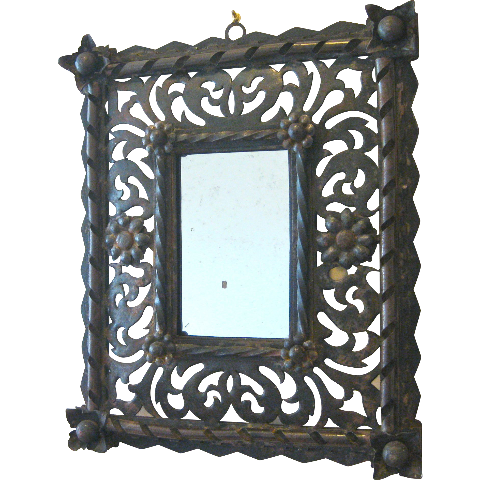 Italian hand wrought iron rustic flower mirror for Wrought iron mirror