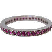 14 K White Gold and Pink Sapphire Eternity Band