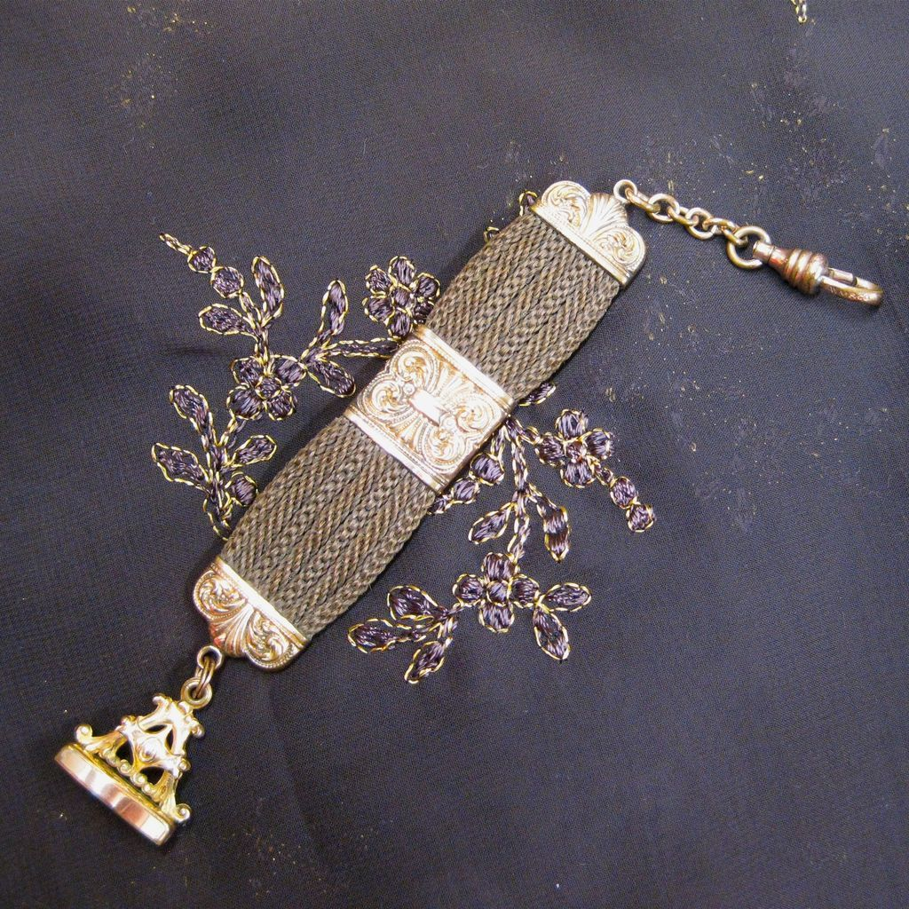 Victorian Hair Watch Fob with Gold Fill, circa 1850s