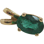 Natural Vivid Green Emerald 14K Yellow Gold Pendant