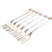 Set of 6 Georg Jensen Sterling Silver Cocktail Forks in 'Acanthus' Pattern