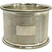 English Sterling Silver Engine Turned Napkin Ring by Turner & Simpson (1952)