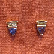 14 K Gold, Tanzanite, and Diamond Triangle-Shaped Post Earrings