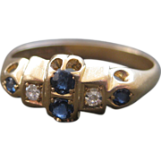 English Victorian 18K Gold Natural Sapphire and Diamond Ring
