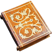 Sorrento Ware Burl Wood Book-Shaped Match Safe