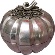Vintage Cambodian Sterling Silver Melon-Shaped Box