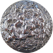 Gorham Sterling Silver Floral Repousse Rouge Pot or Pill Box, circa 1890s