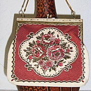 Floral  Gold Weave  Petit Point Purse circa 1950's