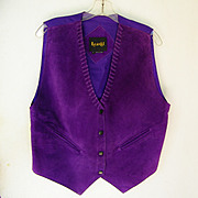 SALE Vintage Purple Leather Suede Vest Mint Ladies size Large