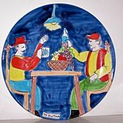 "SALE 14 1/2"" Signed Italian Art Pottery Platter VINO & FRIENDS!"