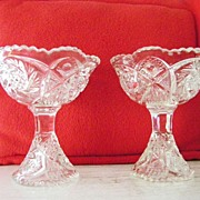 SALE Price for 2 Whirling Star Cut Glass Compote Dishes Perfect Condition