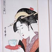 SALE Utamaro Kitagawa Framed Vintage Japanese Art Print
