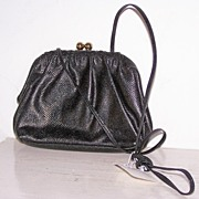 SALE Vintage Etra Black Leather Shoulder Bag Purse~Mint