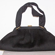 SALE Black Wool Purse signed Garay Big & Roomy!