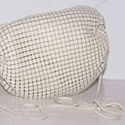 SALE White Enamel Mesh Barrel Pouch Shoulder Bag/Evening Bag