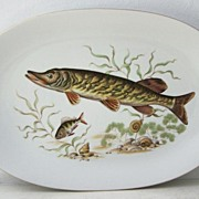 SALE Large Bareuther Bavaria German Fish Platter Gold Rim  Mint condition