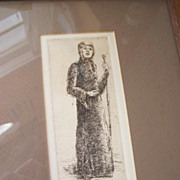 Signed Original Etching Maid Marian