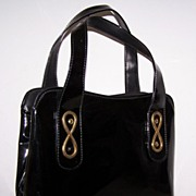 Large Black Patent & Goldtone Vintage Purse