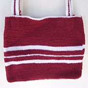 SALE Handmade Knit Purse / Tote Red & White Mint!
