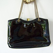 SALE Black Patent Handbag Shoulder Bag  Evening Bag Mint!