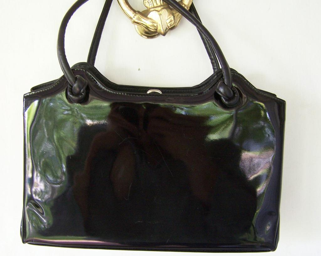 "Large Black Patent Vintage Handbag 13"""