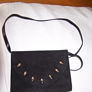 Spanish Black Suede Leather  Shoulder Bag Clutch convertible mint!