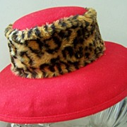 "SALE 50% OFF! Red Wool Hat Fur Band Mint! ""Deborah of New York"""