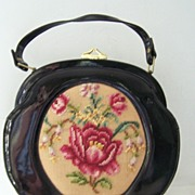 SALE Fabrique Vintage French Black Patent Round Purse Needlepoint 12""