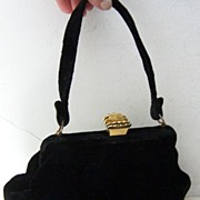 L&M Black Velvet Handbag with Crown Clasp