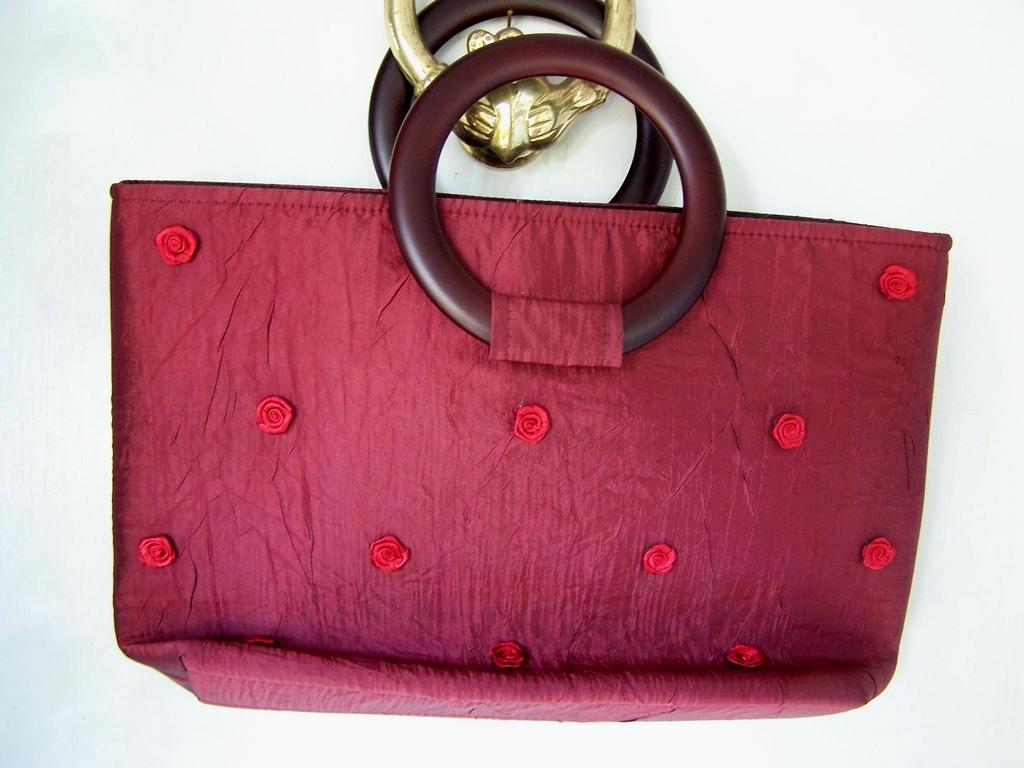 100% BurgundySilk Handbag with Red Silk Roses ~ Mint!