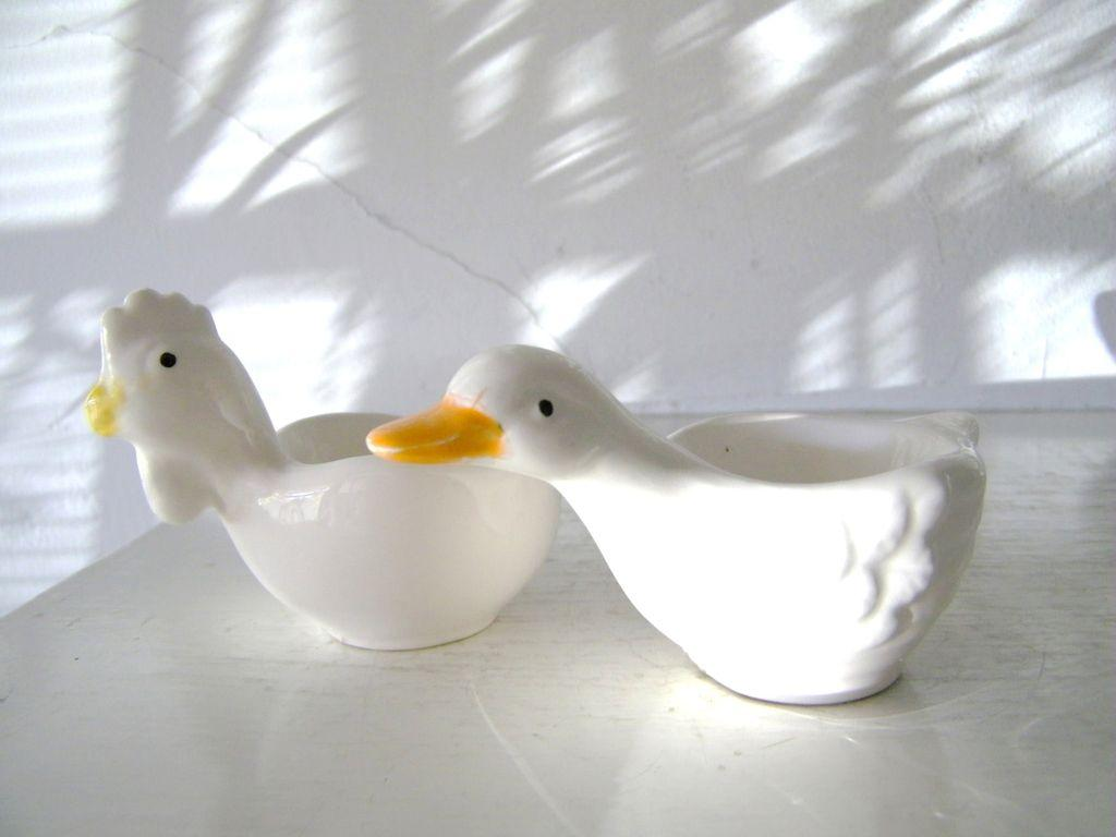 Chicken & Duck Pottery Egg Cups (2)