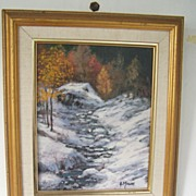 Snow Landscape by Muscat  Original  Signed Acrylic on Canvas