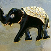 SALE Black Enamel and Rhinestone Elephant Brooch Pin