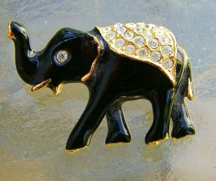 Black Enamel and Rhinestone Elephant Brooch Pin